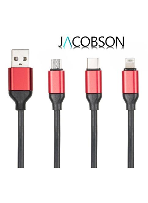 Jacobson J3 Android İos Type-C Uyumlu USB Şarj ve Data Kablosu Siyah